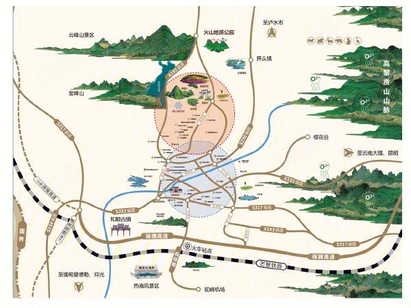 腾冲旅游景点分布地图