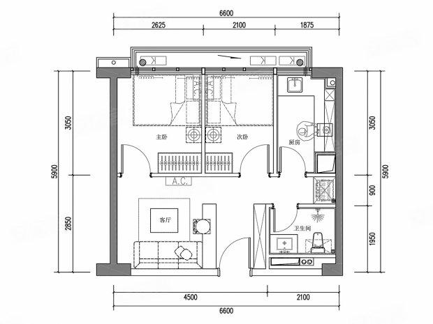 卧室: 小户型双卧室设计,功能齐全.
