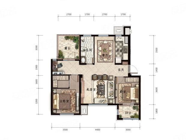 开发区楼盘 保税区楼盘 一方五合院  户型信息 c-3户型图: 叠加别墅