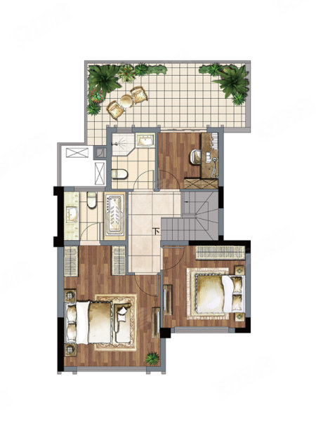 建发玖里湾叠加d2户型,建发玖里湾别墅约135.00平米图