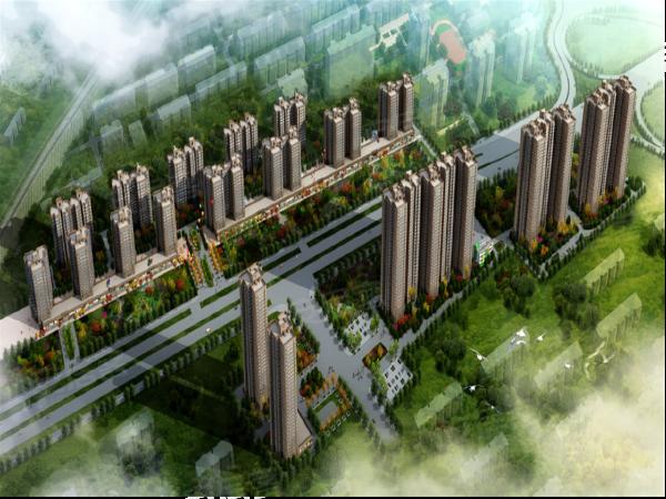 立丰昆明时光项目鸟瞰图,昆明时光住宅规划有2梯4户、2梯5户、2梯6户的小高层,共17层,2梯4、3梯6高层,共
