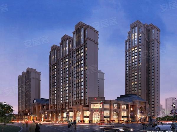 香榭兰岛项目规划5栋楼,25层板式高层及32层高层。图为项目傍晚透视图