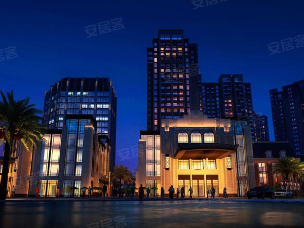 项目夜景效果图,商业配套满足业主购物需求。