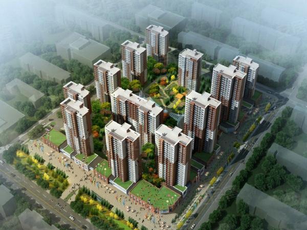 学府中央项目将打造多栋高层住宅,体量较大,品质感较强。