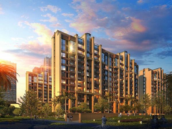 长和上尚郡效果图:项目将打造多栋高层住宅,品质感较强。