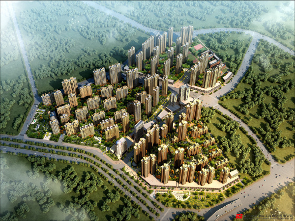 中国铁建国际城项目鸟瞰效果图